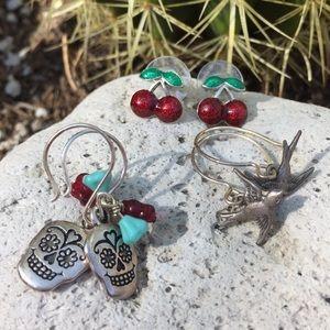 3 pair earrings Rockabilly Day of Dead